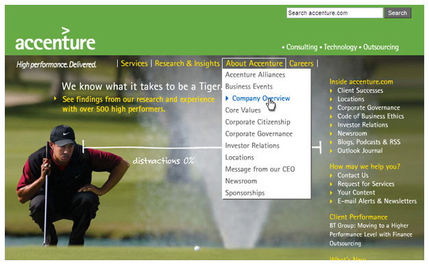 Accenture.com Homepage, 2005-2008